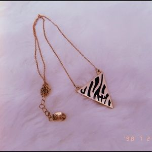 Cute triangle zebra print necklace